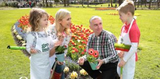Gardening Expert Dermot O Neill pictured with Sarah McGovern and her children Robyn Vaughan (4) and Jude Vaughan (6) as they launched GroMór 2018 in Merrion Square, Dublin. Pic Brian McEvoy