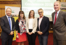 Pictured from L to R were: Alan Farrell, Galway County Council; Mary Ryan Teagasc; Sinead Hennessy Fáilte Ireland; Hans Embacher, Holiday on the Farm Austria and Barry Caslin Teagasc, at the Teagasc / Galway County Council Agri-Tourism Conference 2018 in association with Fáilte Ireland in the Shearwater Hotel Ballinasloe Co. Galway.
