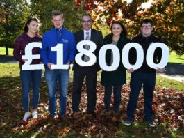 Industry Bursaries for Loughry Food Degree Students. Martin McKendry, CAFRE Director with final year BSc and FdSc Food Degree students Laura Megarity (Armagh), Rian Grant (Newry), Hannah Lennox (Cookstown) and Joe Maynes (Cookstown) at the Bursary Launch event at Loughry Campus, Cookstown