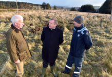 The Minister for Agriculture, Food and Marine Micheal Creed TD (centre) with Dr Fergal Monaghaan, project manager Hen Harrier project and Jack Lynch, Farm owner Cardowmey, Macroom