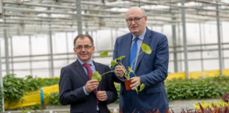 Beotanics is growing international reputation for innovation in niche food crop production across the world, is investing Û1 million in a new Research & Development Centre which includes a plant science laboratory, plant quarantine and R&D greenhouse at its headquarters in Stoneyford, Co Kilkenny. Pictured at the investment announcement were CEO and founder, Pat FitzGerald and European Commissioner for Agriculture and Rural Development, Phil Hogan. For more, visit www.beotanics.com Picture Dylan Vaughan.