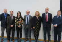 Photo of some of the speakers at the event in Ashtown. L-R Stephen Alexander, Teagasc; Paddy Phelan, 3CEA; Annabel Finnegan, DAFM; Dermot Callaghan, Teagasc; Michelle Kearney, DAFM; Barry Caslin, Teagasc; Tommy O'Shea (O'Shea Farms).