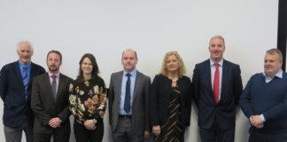Photo of some of the speakers at the event in Ashtown. L-R Stephen Alexander, Teagasc; Paddy Phelan, 3CEA; Annabel Finnegan, DAFM; Dermot Callaghan, Teagasc; Michelle Kearney, DAFM; Barry Caslin, Teagasc; Tommy O'Shea (O'Shea Farms).