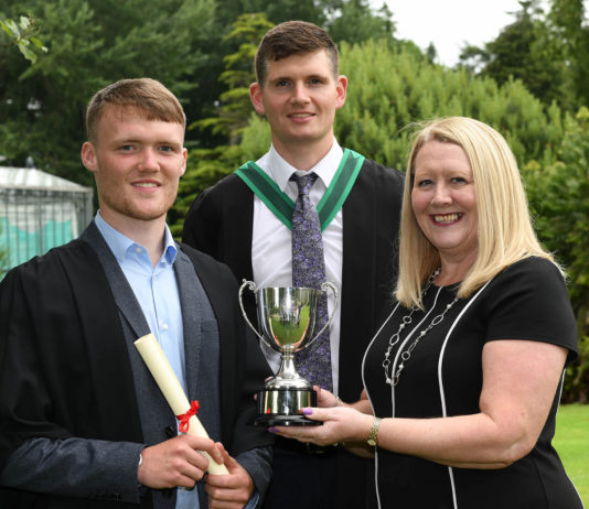 Greenkeeping Cadet Martyn Cullen (Carrigart, Co Donegal) was awarded a Level 2 Work-based Diploma in Horticulture (Sports Turf) and received The Golfing Union of Ireland Prize as the top Golfing Union of Ireland (GUI) Greenkeeping Cadet. Congratulating him on his success are Wendy Cole (R&A) and Fergal Greenan (Lecturer, CAFRE)