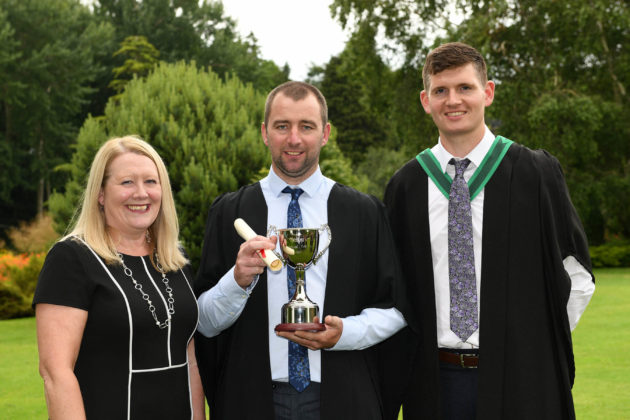 Top greenkeeping student Rodney McKay (Gracehill), was congratulated on being awarded the Golf Course Superintendents Association of Ireland Prize for being the top student on the Level 3 Subsidiary Diploma course by Wendy Cole (R&A) and Fergal Greenan (Horticulture Lecturer) at the Greenmount Campus Horticulture Awards Ceremony.