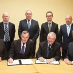 Today, IPM Potato Group Ltd and Teagasc signed a new fifteen year agreement in Oak Park, Carlow. Pictured (Front Row) were: Marcel De Sousa, IPM Director; Ian Ireland; Managing Director, Donegal Investment Group; Gerry Boyle, Teagasc Director; Liam Herlihy, Teagasc Chairman; (Back Row) were: Colm McDonnell, R&D Manager, IPM; Denis Griffin, Potato breeder, Crops Science Department, Teagasc; Sean Mulvany, Head of Technology Transfer, Teagasc and John Spink, Head of Crops Environment and Land Use, Teagasc.