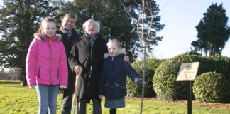 """President of Ireland Michael D. Higgins planted a Native """"Sessile Oak"""" tree in the Phoenix Park to commemorate Ireland's launch of International Year of Plant Health 2020. Pictured with President Michael D. Higgins, are Andrew Doyle, Minister for State at the Department of Agriculture, Food and the Marine, with Molly Keenan aged 11, with her sister Rhona aged 7, both from Scoil Mhuire Na Trocaire, Ardee, Co. Louth. Picture Colm Mahady/Fennells - Copyright© Fennell Photography 2020"""