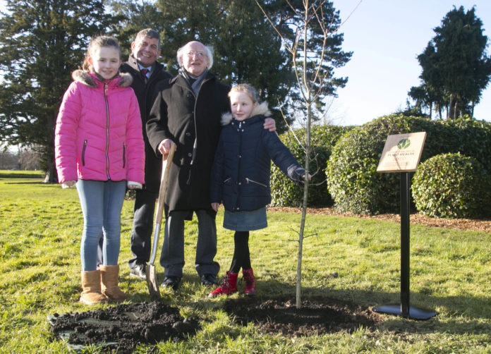 "President of Ireland Michael D. Higgins planted a Native ""Sessile Oak"" tree in the Phoenix Park to commemorate Ireland's launch of International Year of Plant Health 2020. Pictured with President Michael D. Higgins, are Andrew Doyle, Minister for State at the Department of Agriculture, Food and the Marine, with Molly Keenan aged 11, with her sister Rhona aged 7, both from Scoil Mhuire Na Trocaire, Ardee, Co. Louth. Picture Colm Mahady/Fennells - Copyright© Fennell Photography 2020"