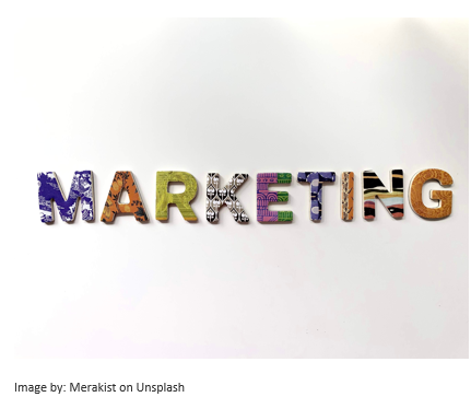 marketing written in letters.