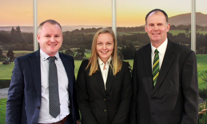 (Left to right) Brian D'Arcy, Joanne Gregory and Richard Charleton pictured on the John Deere stand at BTME 2020.