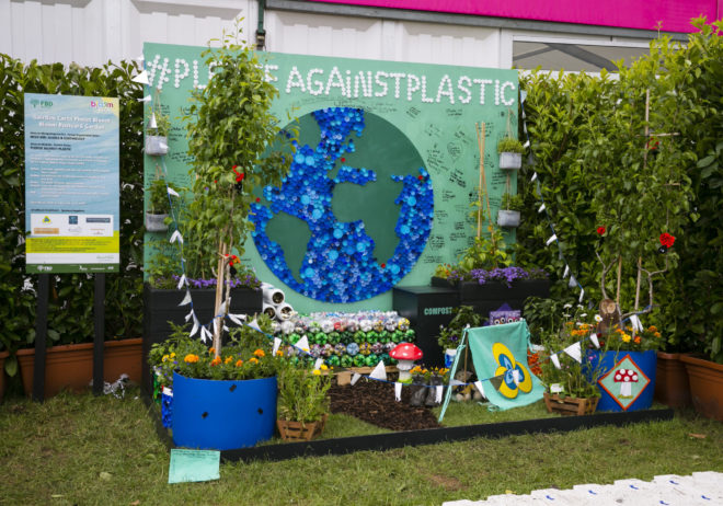 29/05/2019 Bord Bia Bloom Festival 2019 Postcard Garden #PledgeAgainstPlastic by the Irish Girl Guides/Earthology group at Bord Bia's Bloom Festival in the Phoenix Park Dublin. The annual showcase for the best of Irish horticulture and food runs for five days until Monday 3rd June 2019. Photo: Johnny Bambury/Fennells